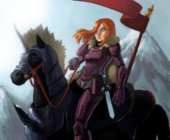female knight riding by lejellycat