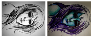 Sleeping beauty with and without colour by KatTheZombieWhore