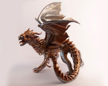 Kaja - Steampunk dragon figurine by Akalewia
