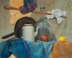 Still life with teapot, pomegranate and lemon by SergeiKrylov