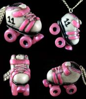 Roller Derby Skate Necklace by NeverlandJewelry