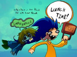Psycho Kid and Lil' Maniac Do Lunch by skull-boy666