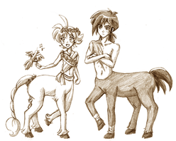 Fakir and Ahiru as Centaurs by amako-chan