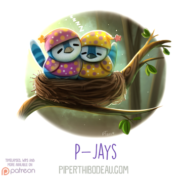 Daily Paint 1630. P-Jays by Cryptid-Creations