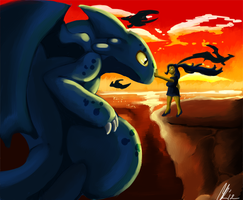 Toothless and the dragon lady by Phatmon