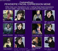 PewDiePie Facial Expressions With Natashya Shepard by CrystallineColey