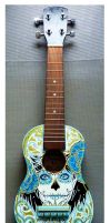 Handpainted Ukelele Day of the dead by Hollow-Moon-Art
