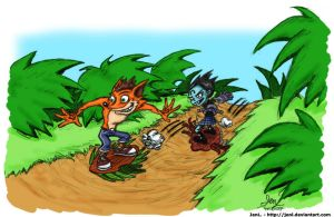 Crash and Nina's Surf Battle by JenL
