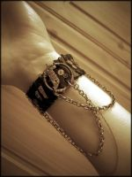 Steampunk Leather Cuff by StaticSkies