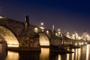 Charles Bridge at night by TrollDuNord