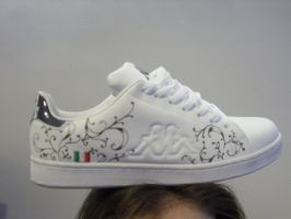 graffitied shoes floral design by sirius06