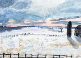 Farm in a winter late afternoon by HaleyGottardo