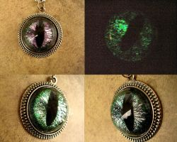 Severe Shifting Eye Green Purple Pendant GLOW by LadyPirotessa