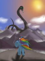 Rainbow Dash and the World Snake by fimoman