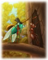 The Grasshopper and the Ant by PrincessTigerLili
