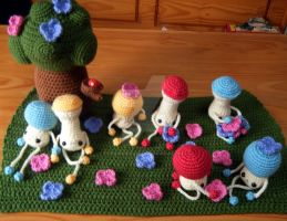 Happy Mushroom Forest by hellohappycrafts