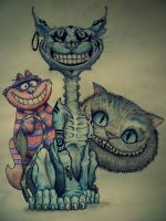 the three Cheshire Cats by h4mtaro
