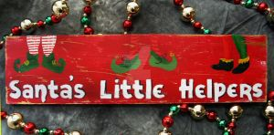 Santa's Little Helpers decorative wooden sign by SchumArt