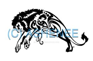 ::leaping Leo lion tribal:: by Ashenee