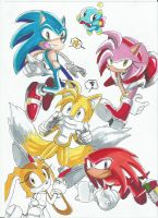Sonic and friends Doodle by Pandalana