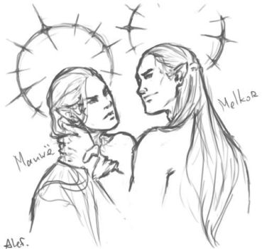 Manwe x Melkor sketch by the-ALEF