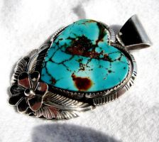 Natural Royston turquoise heart pendant. by FlagstaffTraders