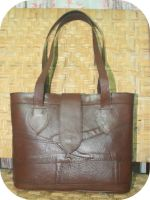 medium brown abstract tote bag by na2ngkusuma