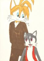 Tails and his Son Dark Star ( Colored) by Aurora-ASB