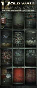 12 Old Wall Backgrounds by WokDesign