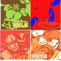 Hulk,Spider-Man,Thor and Iron Man pop art by DevintheCool