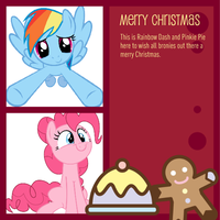 Pinkie and Rainbow Christmas card by snakeman1992