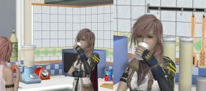 Breakfast with Lightning and Serah by Wellsy71