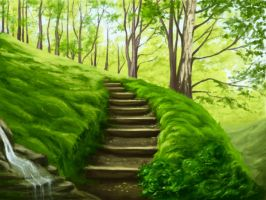 Landscape with stairs by Naddiya