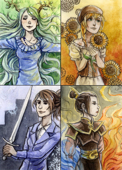 Ladies (ACEO 24 - 27) by Yonetee