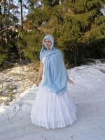 White Gown Blue Scarf 1 by Eirian-stock