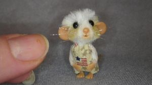 Miniature handmade ooak sculpt mohair furred mouse by TreasuredByU