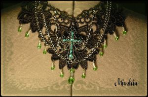 gothic green cross choker by Mirzhin
