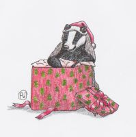 Xmas Badger by Wulvie-leigh