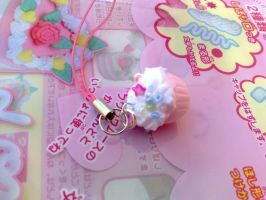 pink cream cupcake phone charm by PinkCakes