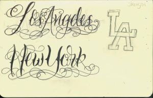 LA and NY Lettering by 12KathyLees12