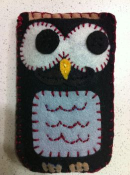 Owl Cellphone sleeve by wishididntwakeup