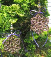 Christmas ornaments, crochet, purple and gold by doilydeas