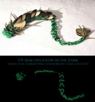 SOLD - Green Glow and Gold Spike Dragon by SerenFey