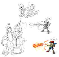 PK Fire + Other Doodles by TamarinFrog
