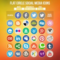 Flat Circle Social Media Icons by limav
