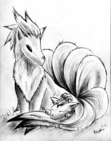 Ninetails and Vulpix by NinjaKimi