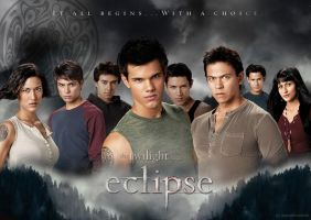Wolf Pack Eclipse Wallpaper by masochisticlove