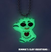 Polymer Clay Alien Figurine Charm Necklace by KIMMIESCLAYKREATIONS