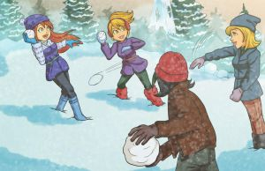 Commission: Snowball FIGHT! by Card-Queen