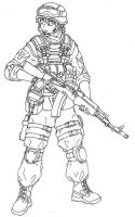 Soldier With AK-74 by c-dane